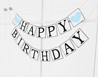 FREE SHIPPING, Happy Birthday banner, Happy birthday decorations, Happy birthday sign, Birthday garland, Party decorations, Light blue heart