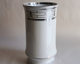 Vintage White and Silver Vase made in Austria