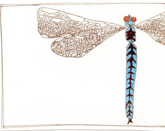 Dragonfly original illustration giclee print
