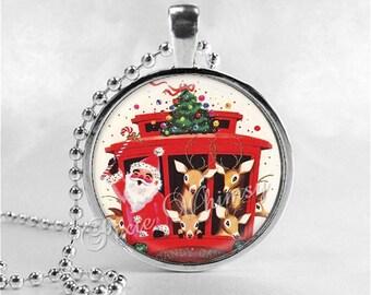 SANTA CLAUS Necklace, Retro Christmas, Christmas Pendant, Santa, Christmas Kitsch, Santa Claus, Christmas Necklace, Vintage Christmas