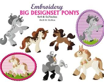 horse and pony, horse embroidery design, pony embroidery design, horse embroidery, design set horses, pony