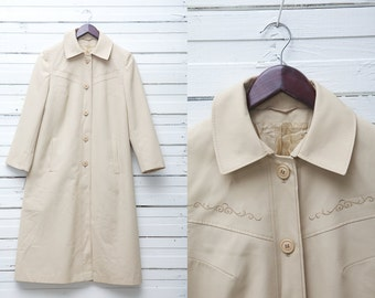 1970's Vintage Beige Long Button Up Embroidered Trench Coat / Women's Trench Coat / Size S Small / A Line Trench Coat / Embroidered Coat