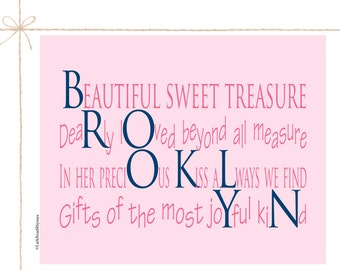 Baby Gifts Baby Girl Name Gifts Personalized 1st Birthday Art Digital Prints Unique Baby Gifts For Newborn Girls Poem 8x10 Brooklyn