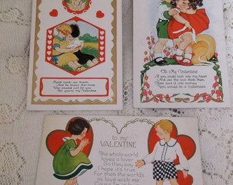 Lot of 3 Vintage Valentine Post Cards Cute Children and Hearts