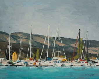 Docked at the marina on Bear Lake-  print on cavas 11x14
