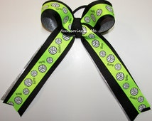 Volleyball Ribbons Neon Green Black Silver Ponytail Holder Girls Kids Team Accessories Competition Cheer Spirit Spike Bump Block Bulk Lots