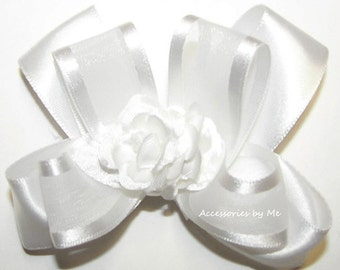 White Hair Bow, Organza Satin Ribbon Flower Clip, Baby Toddler Girls Small Hairbow Clips, Blessing Baptism Christening, Communion Hairbows