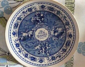 Vintage Masons Ringtons Four Seasons Plate Blue and White 1960's