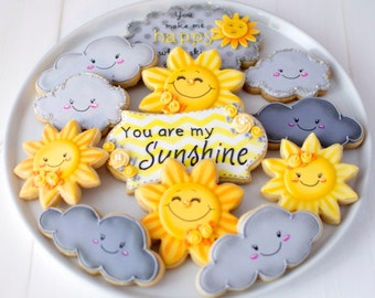 "12 Vegan ""You Are My Sunshine"" Themed Sugar Cookies"