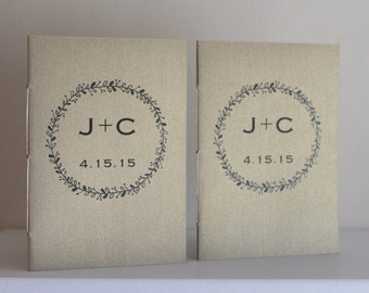 Wedding Vow Booklets - Set of 2 - Pearlescent and Metallic Covers - Initialed and Dated Wedding Vow Books