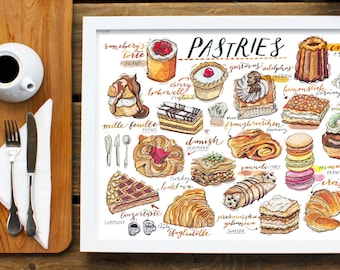 Pastries illustration. Sweets. Bakery. Kitchen decor. Food art. Gift for cook. Delicacies. Cakes. Sweet tooth.