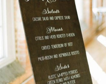 Wedding Menu Board, Wooden Dinner Menu, Wedding Dinner Menu, Rustic Wedding Menu WM-2 by Sweet Carolina Collective