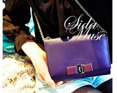 MINT condition Salvatore Ferragamo violet purple shoulder bag w/ vara bow