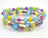 Lemon Aqua Magenta Stackable Stretch Bracelets - Set of Three Stretch Bracelets - Bright Summer Bracelets