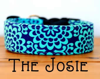 "Navy & Turquoise Bright Floral Geometric Dog Collar ""The Josie"""