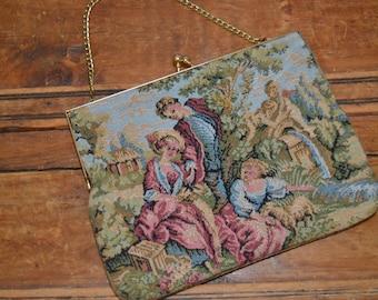 Vintage Delill Creations Tapestry Purse - Vintage Tapestry Clutch Bag - Vintage Evening Handbag - Made in Hong Kong