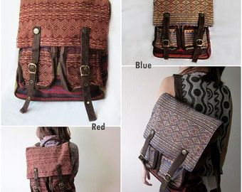 Backpack Bag Tourniquet Hmong Tribal style w/ embroidered Handmade by Hill tribe Thailand (KP1244)