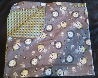 Zombie Flannel Baby Blanket - Double Sided - Receiving Blanket (B3)