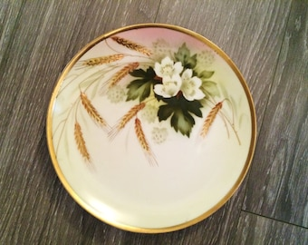 Hand Painted Porcelain Plate , Floral Wheat Sheaves Decor , Fall Decor , Fall Display Reinhold Schlegelmilch Germany Plate