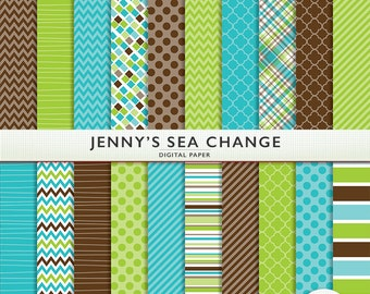 "Digital Paper ""Jenny's Sea Change"" 20  Sheets -  Green Blue Brown - Scrapbooking Personal Commercial  G7341"