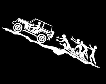 Zombies Chasing Jeep Uphill Decal