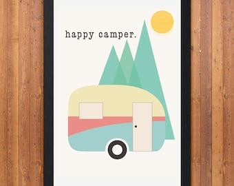 Retro Caravan 'Happy Camper' Poster Print A4 or A3