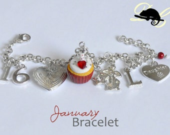 Your JANUARY Birthday Bracelet - Cupcake with candle, birthstone,letter charm,locket,family and zodiac charm - Personalised (In Stock)