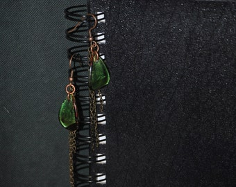 upcycled green bead and chain dangle earrings.