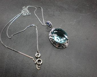Aquamarine Pendant(c/w SS box chain)