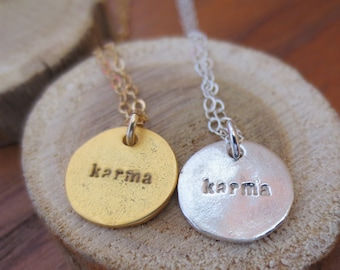Karma necklace, karma gold necklace, karma silver necklace, karma charm necklace, simple necklace, karma coin necklace