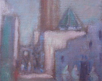 Morocco oil painting on canvas orientalist painting view of a street in Rabat circa 1930 signed Damergi pink lilac pastel colors wall decor