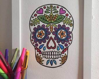 Sugar Skull - Sugar Skull Wall art - Folk art - Mexican Art - Day of the Dead - Calavera - Decorative Skull - Colourful Skull - Lino print