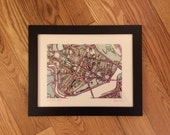 FRAMED Abstract Map Print- CAMBRIDGE
