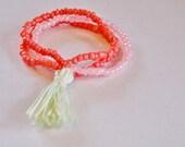 SALE PRICE!! Seed Bead Tassel Bracelet: Coral Pink+very Light Pale Pink+Very Pale Green Tassel Mala Bracelet