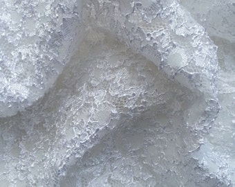 White Nylon Spandex French Lace Fabric by the Yard - Bridal & Lingerie