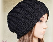 Slouchy beanie hat - BLACK (Or Choose Color) - knit - unisex - accessories - Wool Woolen - mens womens