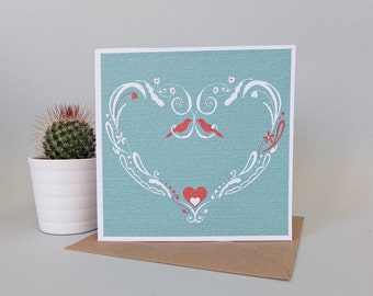 Turquoise love bird card