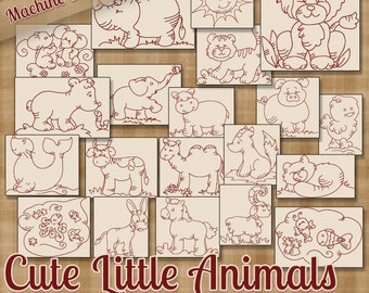 Cute Little Animals Machine Embroidery Patterns / Redwork Designs 20 Designs INSTANT DOWNLOAD dst hus jef pes sew vip xxx