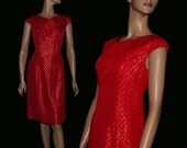 Vintage 1960s Red Dress Tailored Red Sleeveless Dress Cocktail Party Dress Mad Man Garden Party Rockabilly Retro Femme Fatale