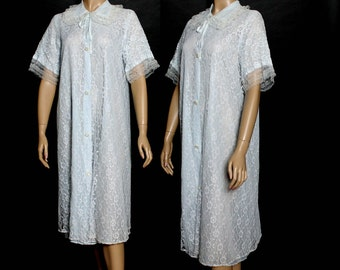 Vintage 1950s Robe Lace Robe Dressing Gown Rhinestone Buttons Smoking Jacket Blue Lace Robe Brocade