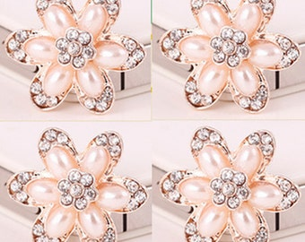 4 Flat Back Rhinestone and Pearl Button (22 mm) DT-008