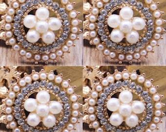 4 Flat Back Rhinestone Button Pearl Button (23 mm) QS-027
