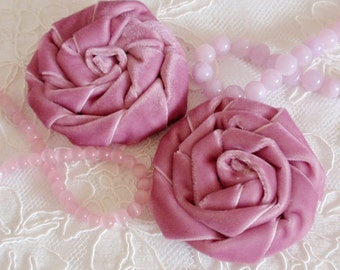 2 Handmade Velvet Rose (2.5 inches) In Thistle MY-320-04 Ready To Ship