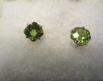 Pair of Natural Checkerboard Cut Peridot Earrings