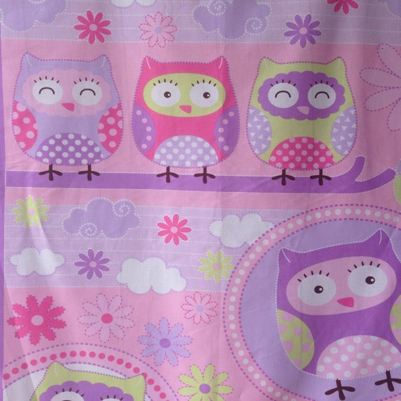 Pink Owl Quilt Fabric Cot Panel 36 x 44 90cm x