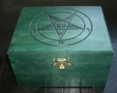 Church of Satan Sigil of Baphomet Box (Pyrography) You Pick the Color, Free US Shipping