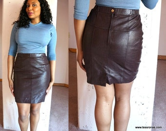 80s Braefair Croc Embossed Chocolate Leather Mini Skirt Size Small Medium