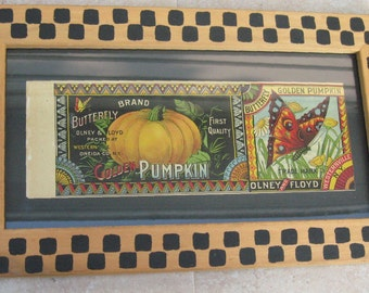 Vintage Framed Antique Olney and Floyd Butterfly Pumpkin Tin Can Label
