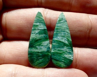 Russian Seraphinite Matched Pair Cabs