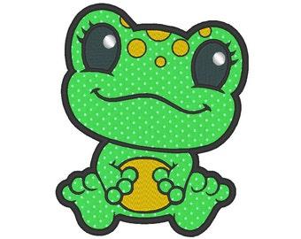 Cute Frog Applique Embroidery Machine Design